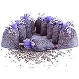 Quertee 10 x Lavendelsäckchen mit echtem französischen Lavendel – 100 g Lavendel in Duftsäckchen - Lavendelduft zum Entspannen - Mottenschutz im Kleiderschrank