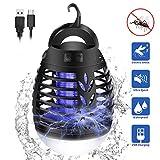 mimoday Insektenvernichter Elektrisch Fliegenfalle, 2-In-1 Mückenlampe Campinglampe LED Laterne, IP66 wasserdichte Tragbare Insektenlampe Zeltlampe, USB Wiederaufladbar für Innen...