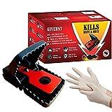 GIVERNY Rattenfalle & Mausefalle (6er-Set) Leistungsstark, Einfach zu Bedienen, Effizient, Schnell Tötend - Bonus Latex-Handschuhe für Optimale Sicherheit und Sauberkeit -...